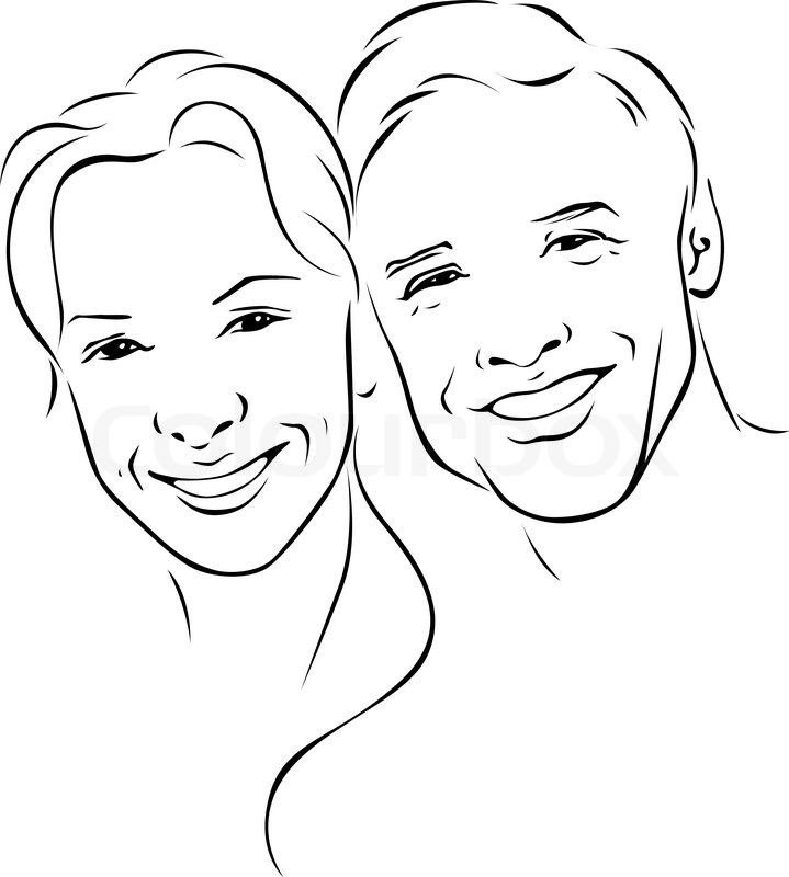 Man S Face Line Drawing : Man and woman young couple black outline illustration