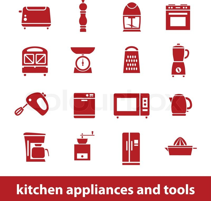 Kitchen appliances and tools icons | Stock Vector | Colourbox on icons computer, icons windows, icons medical appliances, cartoon appliances,