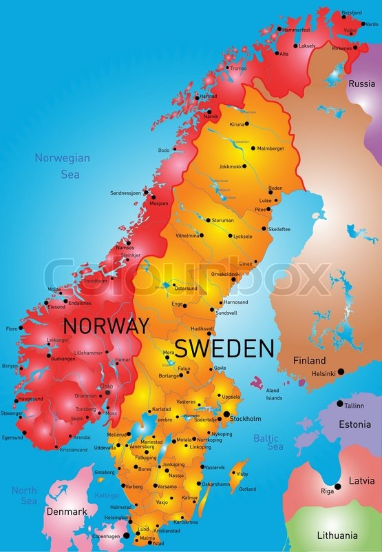Vector Color Map Of Norway And Sweden Country Stock Vector - Norway map hamar