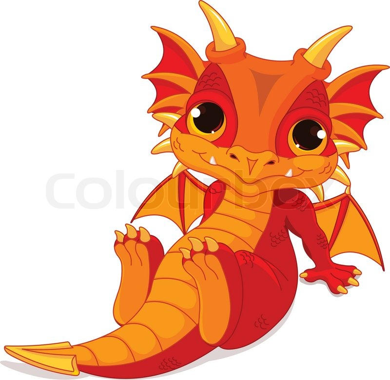 Cute cartoon baby dragon vector colourbox