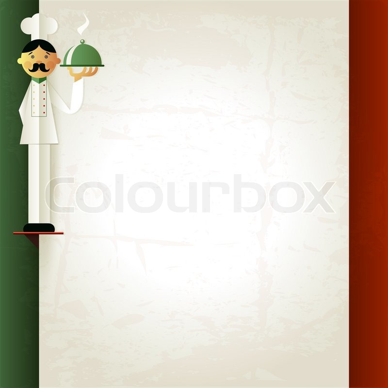 italian menu with chef and plate menu template in italian flag