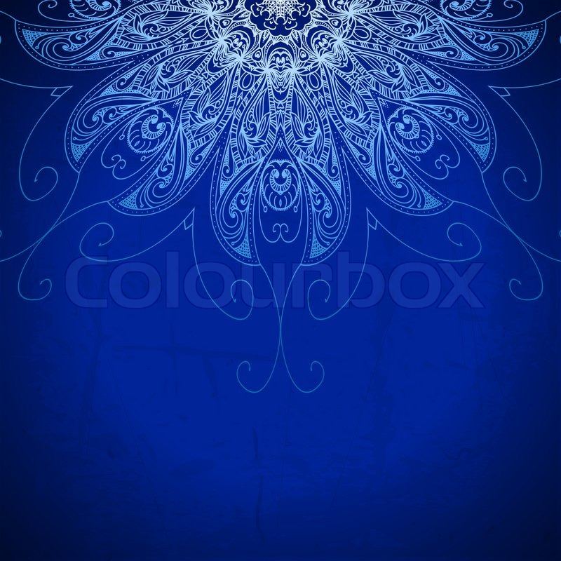 Blue Background Vintage Pattern Hand Drawn Abstract Background
