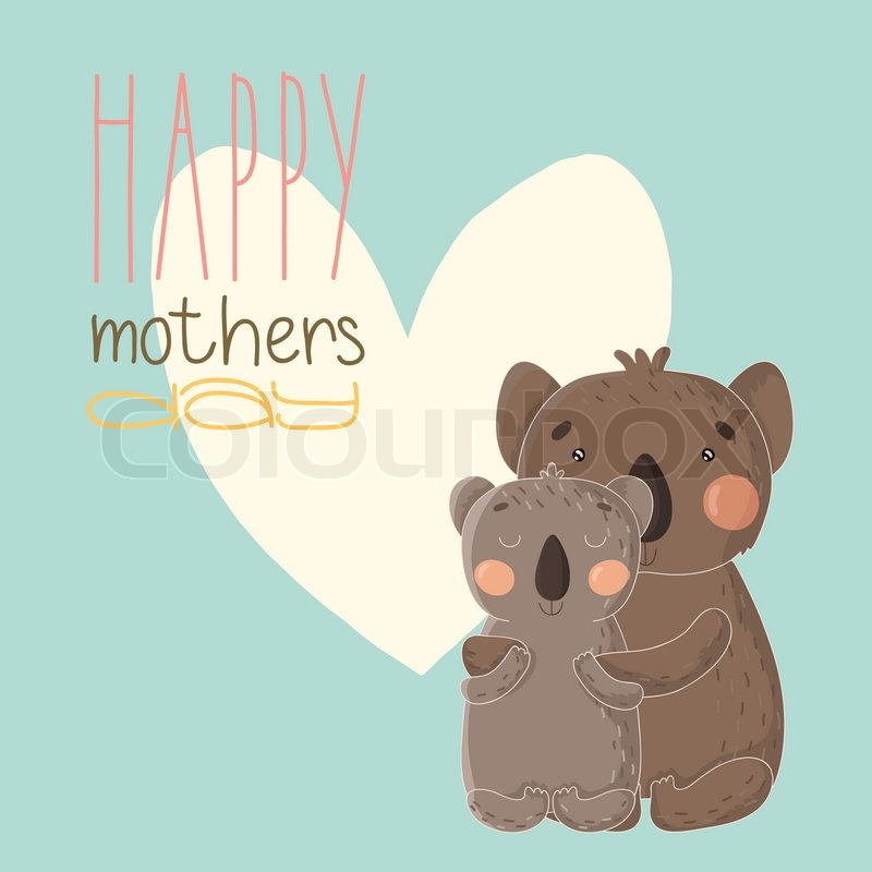 Greeting card for mothers day illustration with cute cartoon greeting card for mothers day illustration with cute cartoon koalas vector eps 10 stock vector colourbox m4hsunfo