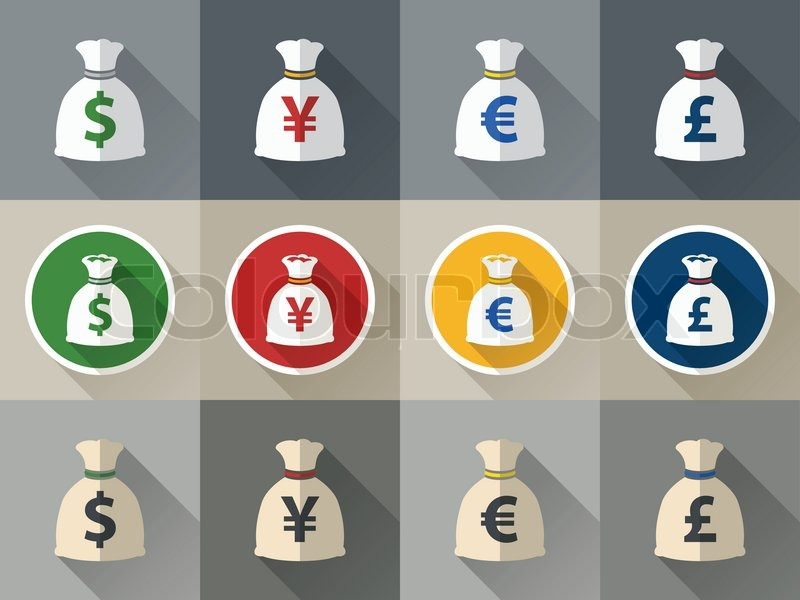 Money Bag Icon Set With Currency Symbol Flat Design Verctor Stock