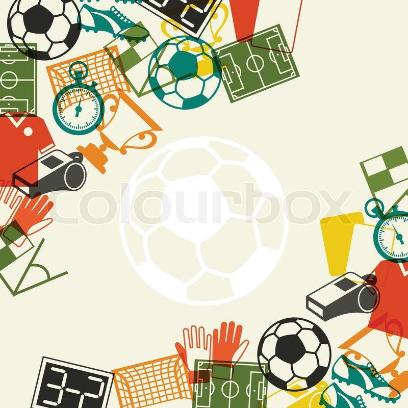 Sports background with soccer football flat icons stock sports background with soccer football flat icons vector voltagebd Choice Image