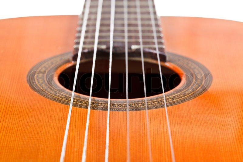 six nylon strings of classical acoustic guitar close up stock photo colourbox. Black Bedroom Furniture Sets. Home Design Ideas