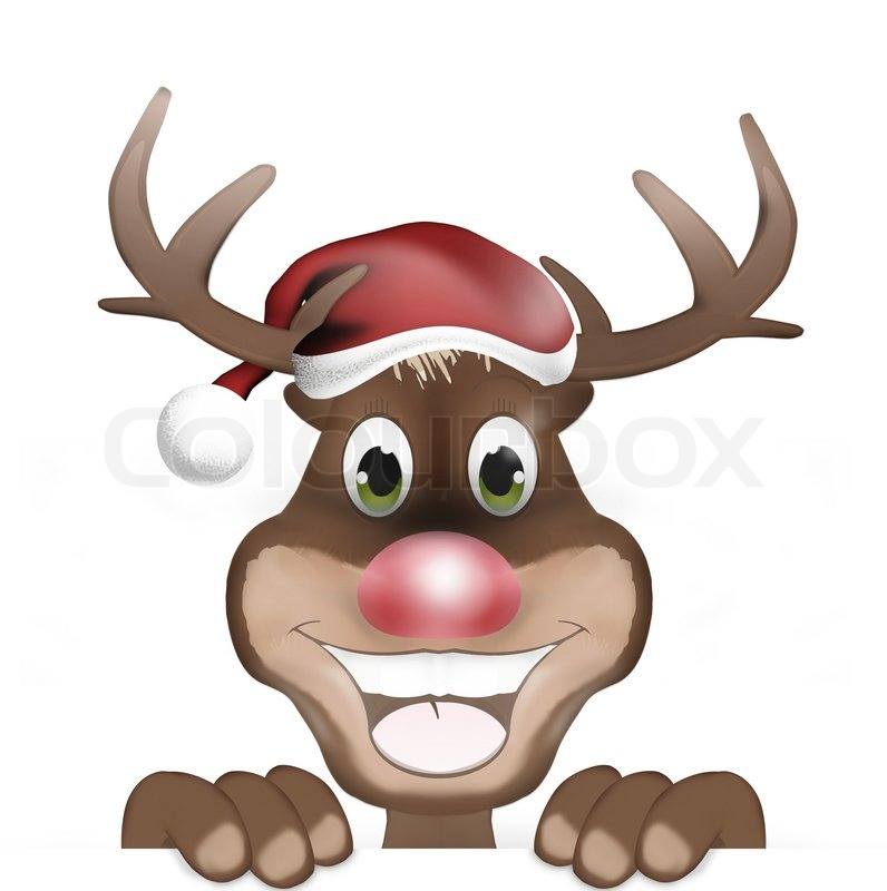 Rudolph with Christmas Hat and Happy Smile | Stock Photo | Colourbox