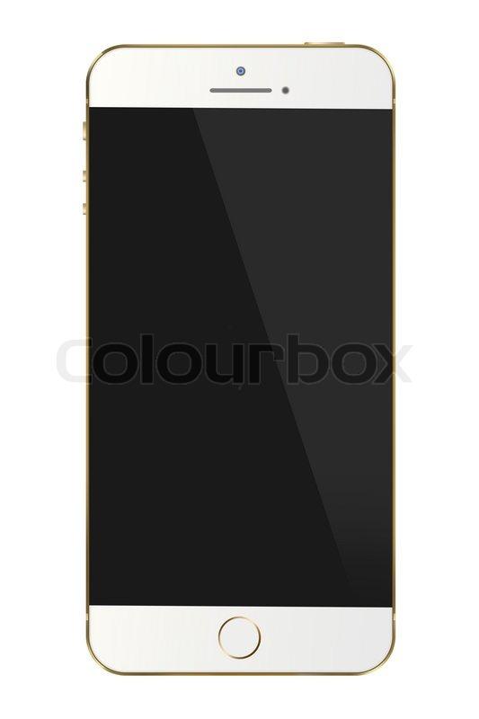 Smart phone gold frame isolated white background | Stock Photo ...