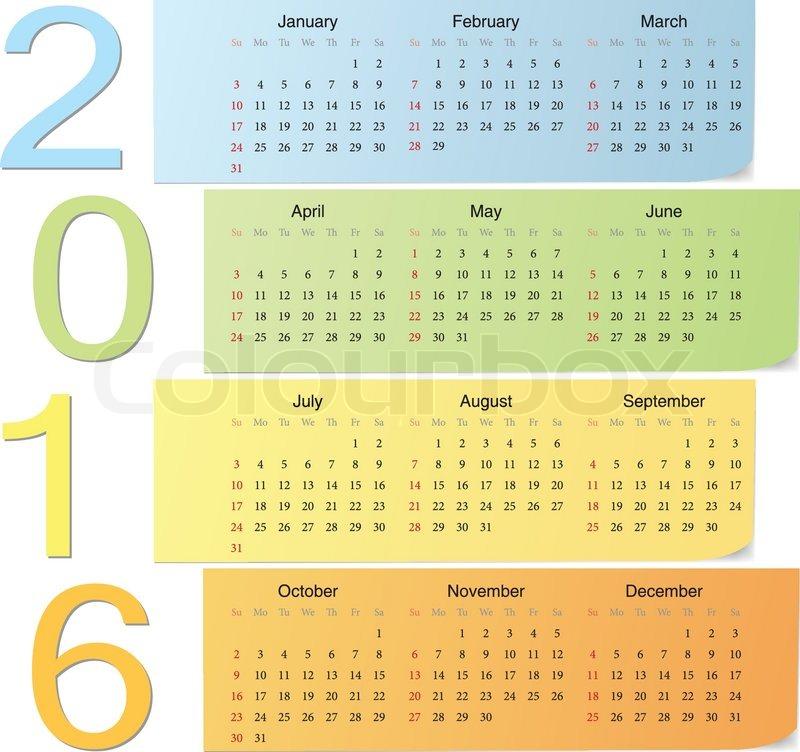 European 2016 color vector calendar with vertical numbers. Week starts ...