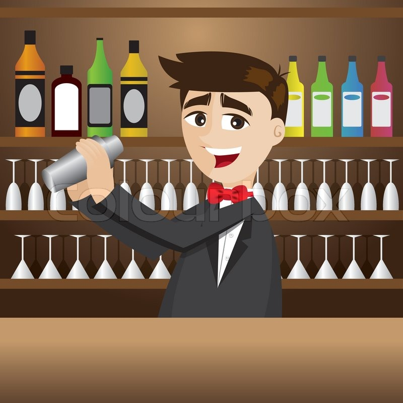 Cartoon-Barkeeper mit Shaker in Bar | Vektorgrafik | Colourbox
