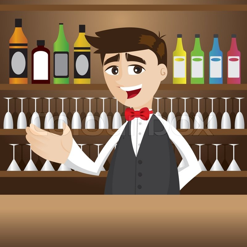 Cartoon Barkeeper an der Cocktailbar | Vektorgrafik | Colourbox