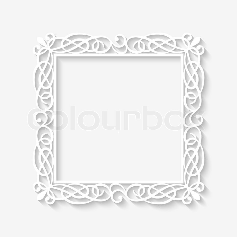 Vector vintage white frame background with long shadows. Blank ...