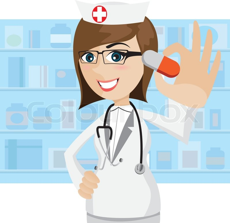Illustration Of Cartoon Pharmacist Showing Pills In Drug