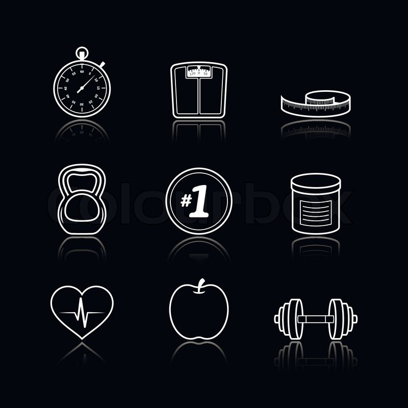 Fitness Sport Wellness Healthcare Icons Set On Black