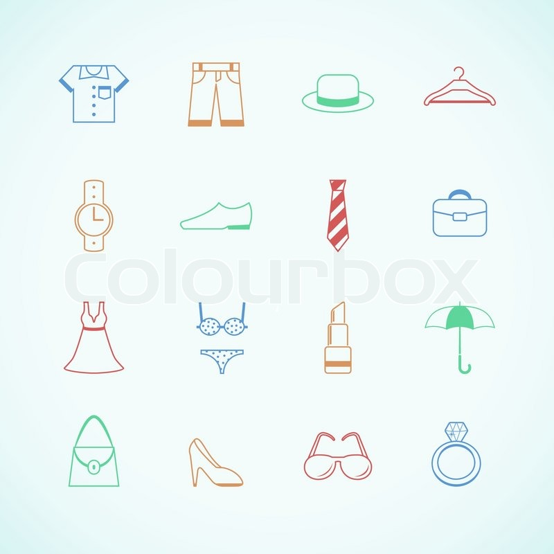 huge selection of dc681 f930f Kleidung Accessoires Piktogramme | Stock-Vektor | Colourbox