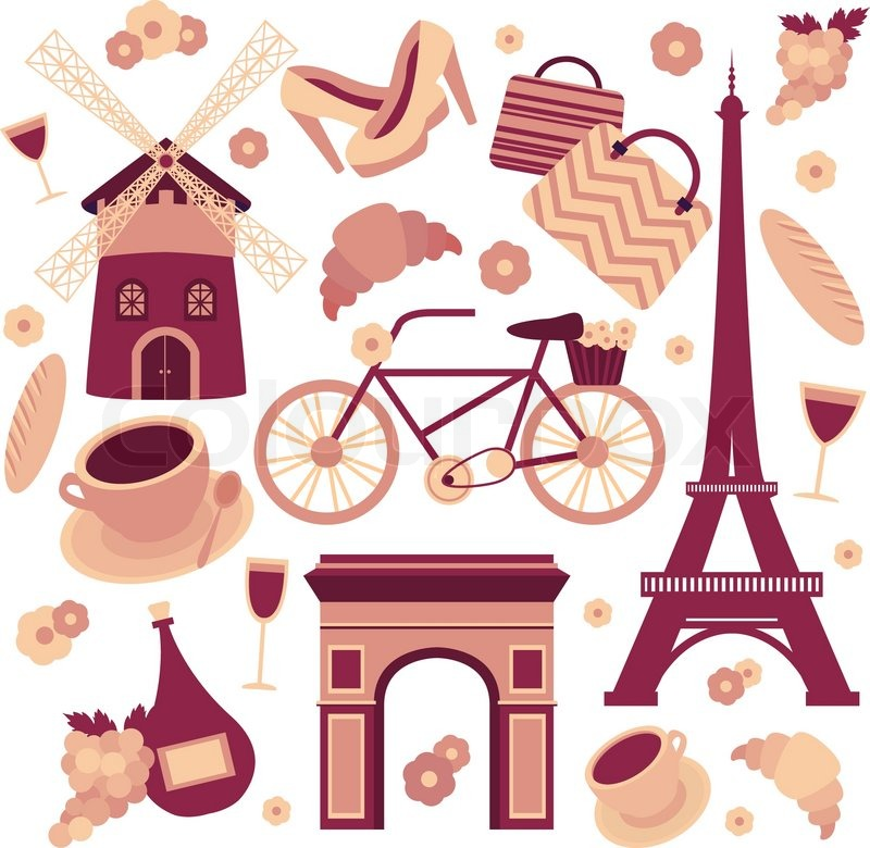 Paris Symbols Collection Of Eiffel Tower French Croissant Coffee And