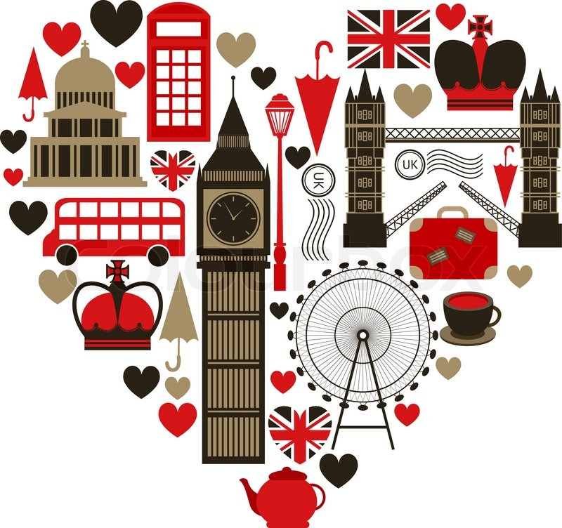 Love London Heart Symbol With Icons Set Isolated Vector Illustration Stock Vector Colourbox