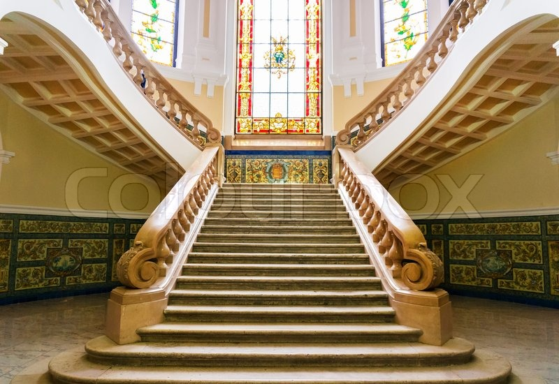 Old Marble Staircase At A Historic Building. Valladolid, Spain, Stock Photo
