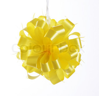 yellow bow ribbon isolated on white