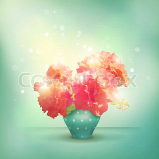 Shining flowers roses in vase