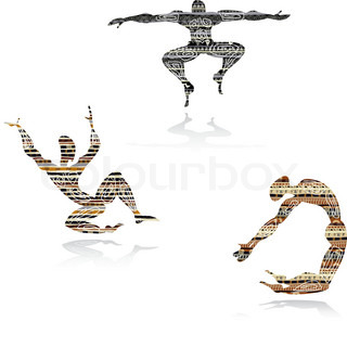 Silhouette of dancing mens  in ethnic style