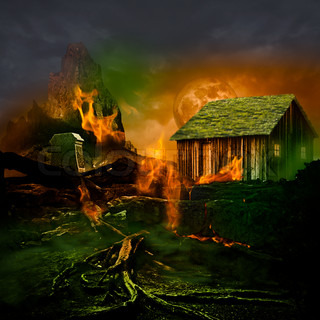 Horror Scene ~ Scary Mountain Graveyard With Tomb Stone, Haunted House, Full Moon And Twisted Dead Tree Roots Burning In The Evil Green Fog Of A Dark Stormy Night
