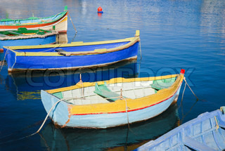 Colorful rowing boats at harbour of Malta