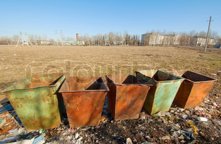 Color Coded Trash Bins For Waste Segregation Stock Photo