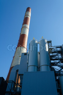 Perspective view of chimney of thermal power plant.