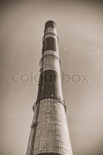 Chimney of thermal power plant. Vintage photo.