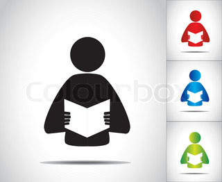 a male person reading an open book concept illustration symbol. colorful man studying literature or novel collection set