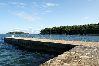 STONE pier for boats and yachts
