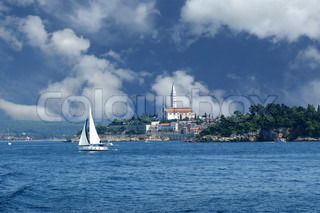 View of the old city Rovinj from the sea--city in Croatia situated on the north Adriatic Sea
