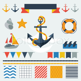 Collection of nautical symbols, icons and elements.