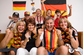 Excited faces of german football fans