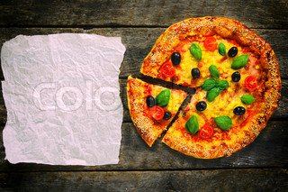Pizza and blank paper