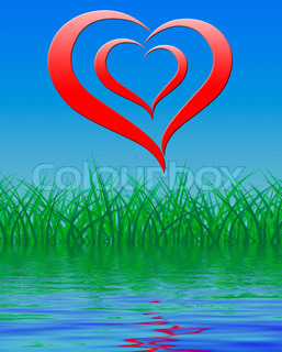 Heart On Background Displays Romance Love And Passion