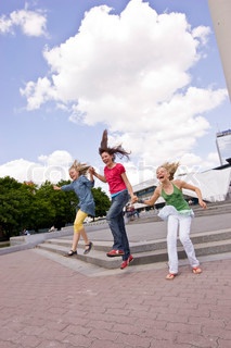 A group of teenage girls having a good time in Berlin