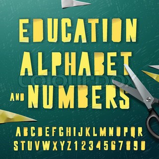 Education alphabet and numbers, cut out from paper