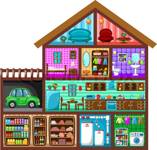 House For The Girl In A Cut Vector Colourbox