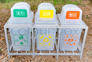 Recycle bins in park