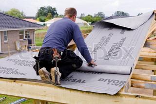 A male carpenter building a carport