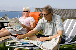 An elderly couple enjoying their summer holiday