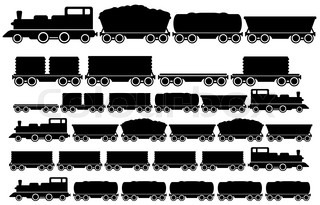 Modern and vintage train silhouette collection | Vector ...