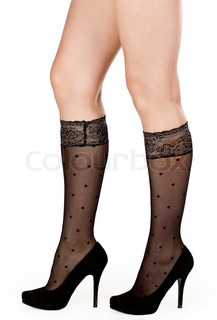 female legs in fishnet socks and shoes