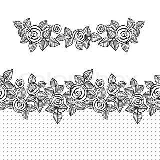 Pretty flower line art stock vector colourbox seamless border and the element of stylized roses mightylinksfo