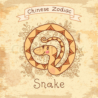 Vintage card with Chinese zodiac - Snake