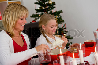 A caucasian family enjoying their Christmas lunch