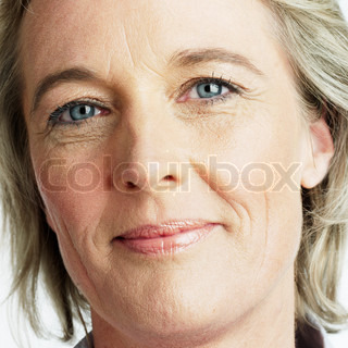 Portrait of a matured woman with wrinkled face