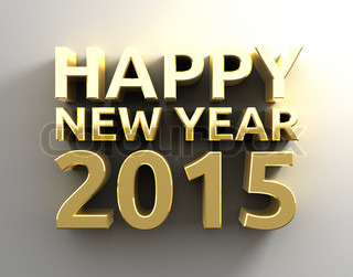 Gold 3D Happy new year 20015 template background